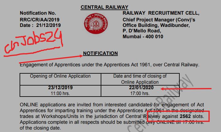Photo of 10वी पास मध्य रेलवे में 2562 पदों पर भर्ती…प्रकाशित नोटिफिकेशन जरूर देखें।