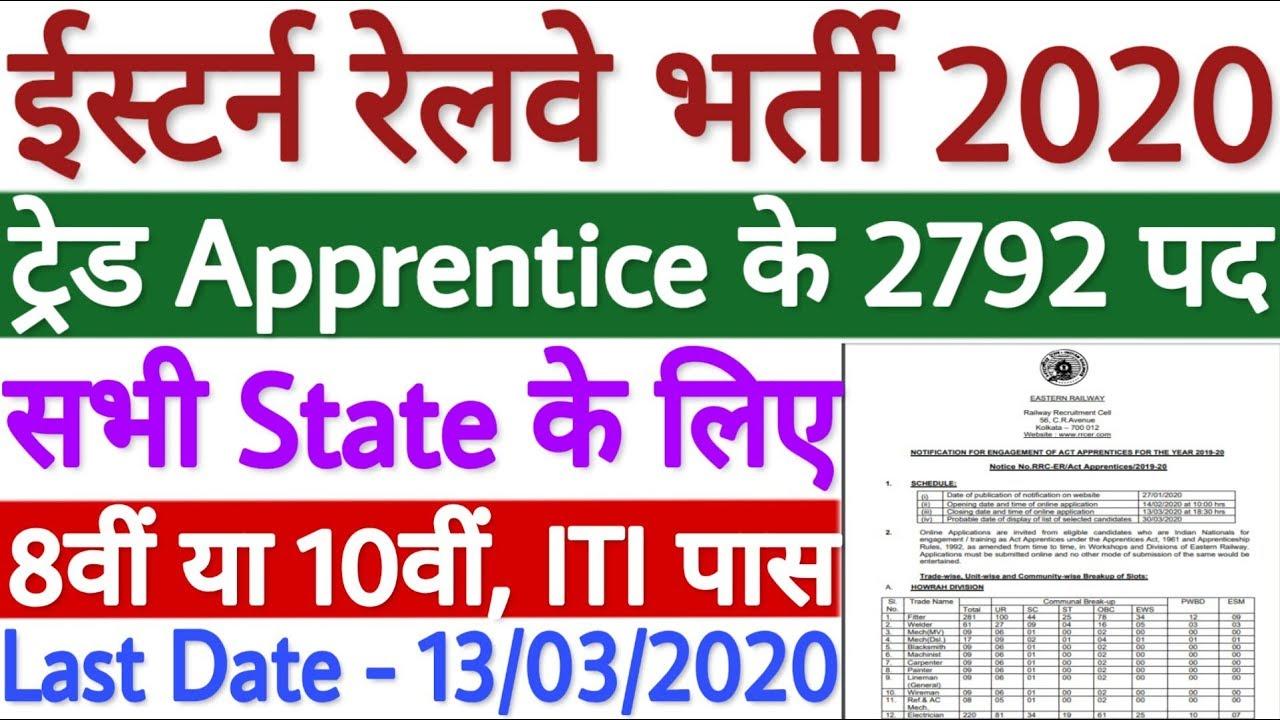 Photo of Railway Recruitment  पूर्वी रेलवे में भर्तियाँ रिक्त पदों की संख्या – 2792 पद देखिये पूरा