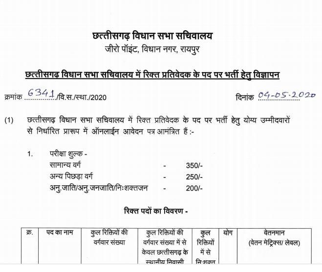 Chhattisgarh Vidhan Sabha Recruitment 2020 छग विधानसभा सचिवालय में भर्तिया
