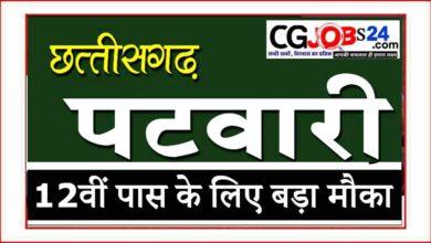 Photo of CG Vyapam Chhattisgarh Patwari Recruitment 2021 छत्तीसगढ़ पटवारी पदों पर सीधी भर्ती   CG patwari upcoming vacancy 2021