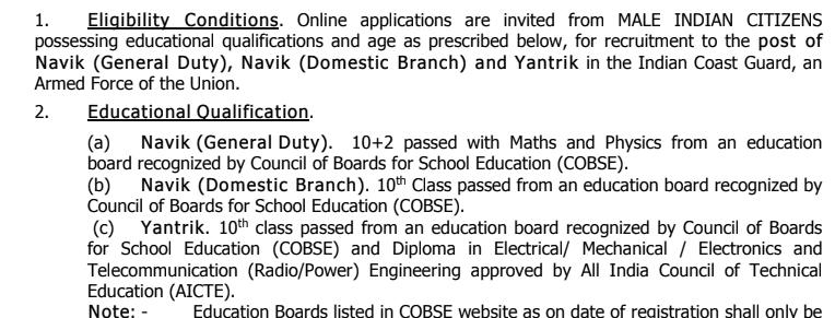 Indian Coast Guard Navik (DB, GD) & Yantrik Online Form 2021