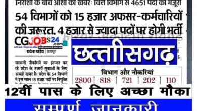 Photo of छत्तीसगढ़ में 4651 पदों पर होगी बंपर भर्ती 2021   CG Vyapam Recruitment Upcoming Vacancy 2021 in Hindi