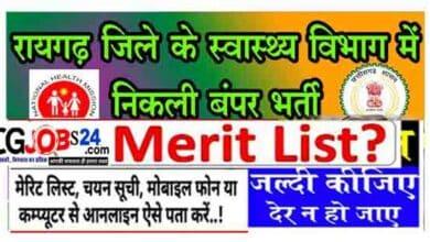 Photo of रायगढ़ जिला भर्ती 598 पदों का रिजल्ट मेरिट लिस्ट कैसे देखें    Raigarh Chhattisgarh CMHO Recruitment 2021 merit list result